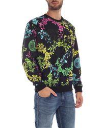 Felpa nera stampa Color Baroque di Versace Jeans in Multicolor da Uomo