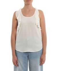 Twin Set White Ruched Silk Blend Top