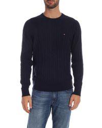 Pullover blu con ricamo logo a contrasto di Tommy Hilfiger in Blue da Uomo