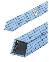 Cravatta in seta azzurra con fantasia di Ermenegildo Zegna in Blue da Uomo