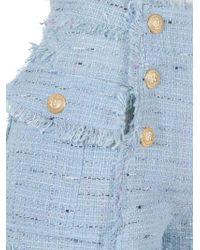 Balmain - Blue Fringed Shorts - Lyst