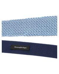 Cravatta azzurra e blu in seta lavorata di Ermenegildo Zegna in Blue da Uomo