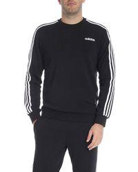 Felpa Essentials 3-Stripes nera di Adidas in Multicolor da Uomo