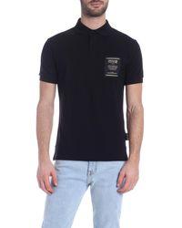 Polo nera con logo sul petto di Versace Jeans in Multicolor da Uomo