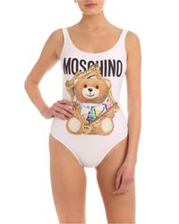 Moschino White Bear From Frame Swimsuit