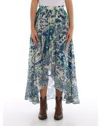Twin Set Blue Paisley Long Skirt