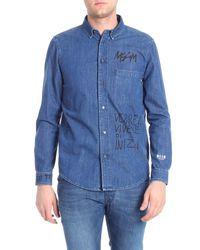 Camicia blu Vorrei Vivere Di Inizi di MSGM in Blue da Uomo