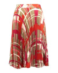 Twin Set Red Patterned Accordion Skirt Multicolour