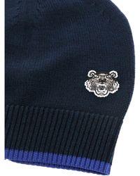 KENZO - Blue Tiger Logo Beanie for Men - Lyst
