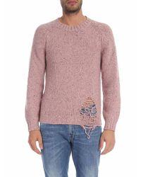 Pullover rosa effetto speckle di Maison Margiela in Pink da Uomo