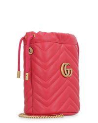 Mini-bag GG Marmont in pelle matelassé di Gucci in Red