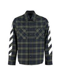 Off-White c/o Virgil Abloh Green Checked Cotton Shirt for men