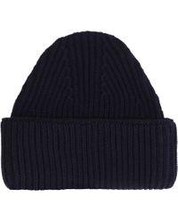 Cappello in maglia a coste di Maison Kitsuné in Blue da Uomo