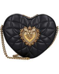 Borsa a tracolla Devotion in pelle trapuntata di Dolce & Gabbana in Black