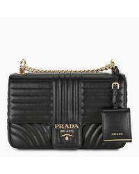 Prada Black Diagramme Large Leather Shoulder Bag