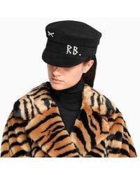 Cappello Baker Boy con cristalli di Ruslan Baginskiy in Black