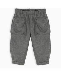 Pantalone in panno doppio di Miu Miu in Gray