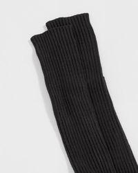 Baserange Black Overknee Silk Rib Socks