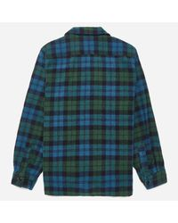 Beams Plus Blue Checked Camp Collar Shirt Jacket for men