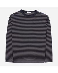 Nanamica Gray Coolmax Long Sleeved Striped T-shirt for men