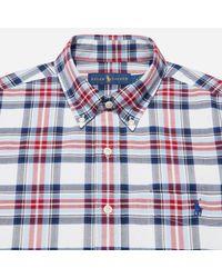 Polo Ralph Lauren Blue Short Sleeve Oxford Bd Check Shirt for men