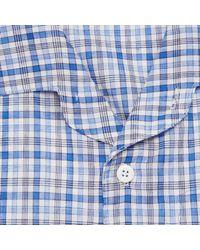 Arpenteur Blue Cotton, Linen And Ramie-blend Checked Shirt for men