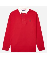 Polo Ralph Lauren Red Long Sleeve Rugby Polo Shirt for men