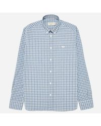 Maison Kitsuné Blue Classic Button Down Check Shirt for men