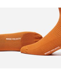 Norse Projects - Orange Bjarki Mercerized Rib Socks for Men - Lyst