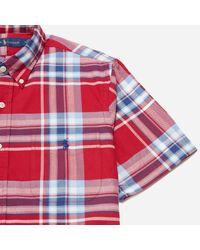 Polo Ralph Lauren Red Short Sleeve Oxford Bd Check Shirt for men