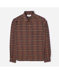 YMC Brown Long Sleeved Check Pattern Shirt for men