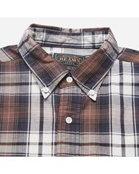 Beams Plus - Brown Button Down Twill Check Shirt for Men - Lyst