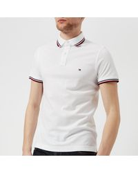 Tommy Hilfiger White Tommy Tipped Slim Polo for men