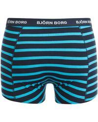 Björn Borg - Blue 3 Pack Stripe Detail Boxers for Men - Lyst