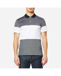 Lacoste | Gray Block Stripe Polo Shirt for Men | Lyst
