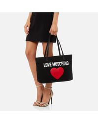 Love Moschino Black Heart Logo Tote Bag