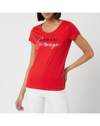 Armani Exchange Red Brand T-shirt