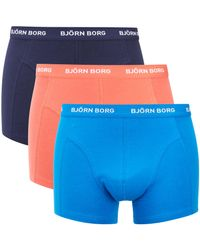 Björn Borg - Blue Three Pack Seasonal Solid Boxer Shorts for Men - Lyst