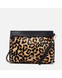Dune | Black Eharriet Leopard Print Clutch Bag | Lyst