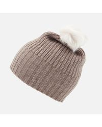 Ugg   Multicolor Beanie With Fur Pom   Lyst