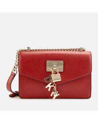 DKNY Red Elissa Large Leather Shoulder Flap