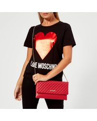 Love Moschino - Red Small Quilted Cross Body Bag - Lyst