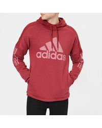 Adidas Red Side Logo Pull Over Hoody for men