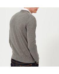 Michael Kors Gray Sleek Cotton Emb. Mk V Neck Long Sleeve Sweater for men