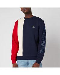 Lacoste Blue Vertical Colourblock Sweatshirt for men