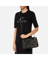 Love Moschino Black Studded Faux Leather Crossbody Bag
