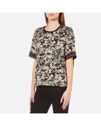 Maison Scotch Black Women's Silky Feel Top With Placement Prints