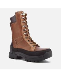 Hunter Brown Field Lace Up Tall Boots for men