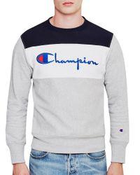 Champion - Blue Panel Crew Neck Sweatshirt Grey for Men - Lyst