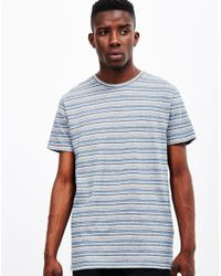 The Idle Man - Blue Jacquard Stripe T-shirt Navy for Men - Lyst